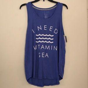 'I Need Vitamin Sea' awesome blue tank top